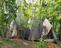 Primeval wooden tent shaped home brings inhabitants closer to forest