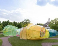 Psychedelic twisting tunnel is a new summer pavilion
