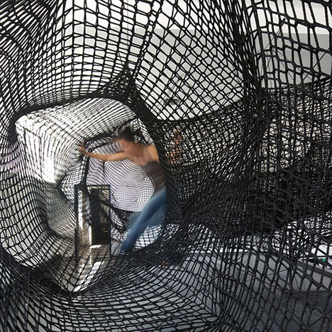 "Tube net installation by Numen/For Use designed as a ""giant convulsing centipede"" 1"